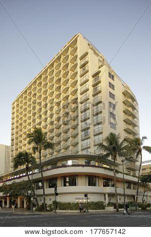 HONOLULU USA - FEBRUARY 15 2017: Image of the OHANA Waikiki East Resort by Outrigger.