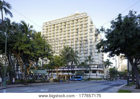 HONOLULU USA - FEBRUARY 15 2017: Image of the OHANA Waikiki East Resort by Outrigger