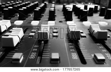 sound studio adjusting record equipment mixer hall
