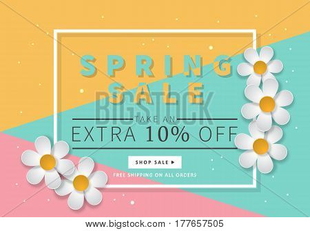 Spring Sale Banner Template For Social Media And Mobile Apps With Paper Daisy Flowers And Colorful B