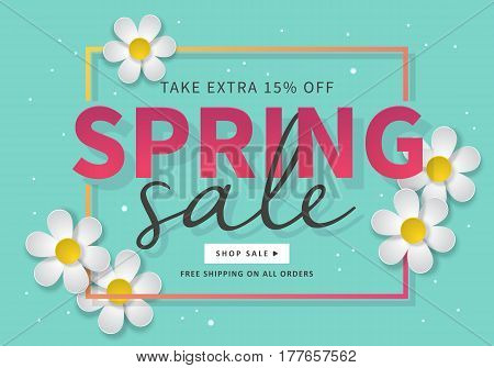 Spring Sale Banner Template For Social Media And Mobile Apps With Paper Daisy Flowers Isolotated On