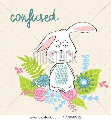 Confused. Vector illustration of a cartoon bunny