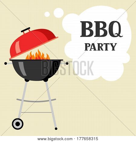 Bbq party background with grill and fire.