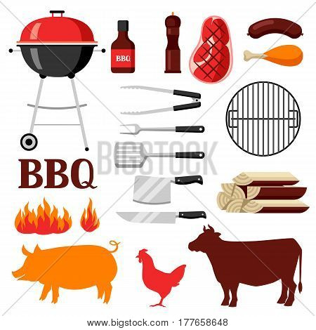 Bbq set of grill objects and icons.