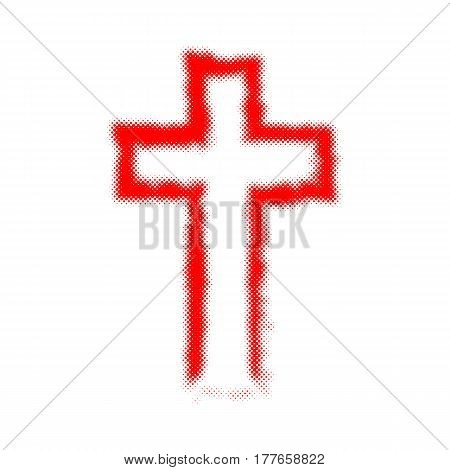 Red Christian cross in halftone design. Vector illustration. Abstract cross as a symbol of the Christian faith.