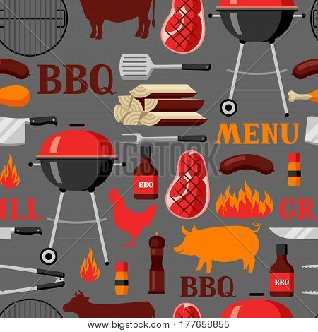 Bbq seamless pattern with grill objects and icons.