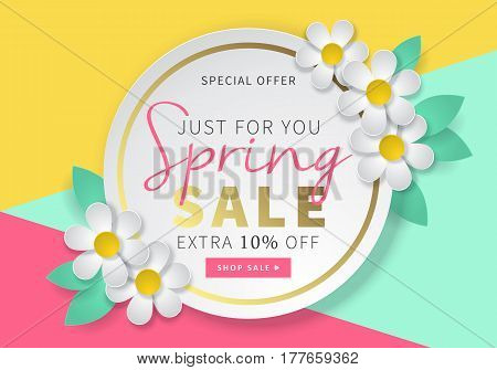 Spring Sale Round Banner Template For Social Media And Mobile Apps With Paper Daisy Flowers And Colo