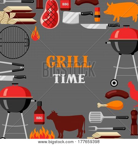 Bbq time background with grill objects and icons.