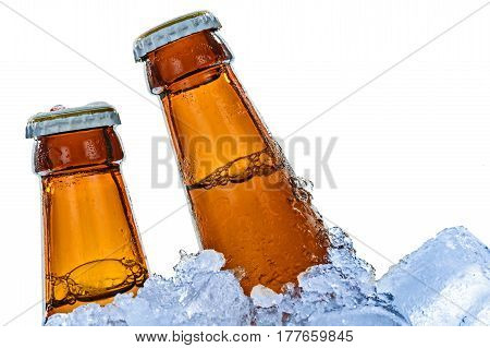 Close-up of brown beer bottles frozen in ice cubes and isolated on a white background.