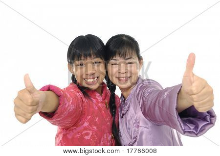 Mother with daughter throw out thumb .Isolated.