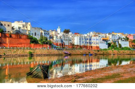Cityscape of Azemmour on the bank of Oum Er-Rbia River in Morocco, North Africa