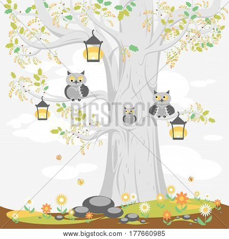 Название: A family of owls on a tree in spring, cute cartoon characters.  Illustration for posters, banners, cards, and other design projects for children