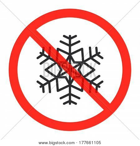 Snowflake line icon in prohibition red circle Do not freeze ban sign forbidden symbol. Vector illustration isolated on white