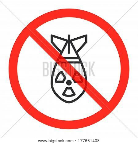 Atomic bomb line icon in prohibition red circle No nuclear weapon ban sign forbidden symbol. Vector illustration isolated on white