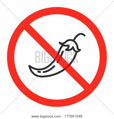 Hot chili pepper line icon in prohibition red circle No spicy food ban sign forbidden symbol. Vector illustration isolated on white