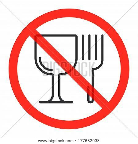 Glass and fork line icon in prohibition red circle No eating ban sign forbidden symbol. Vector illustration isolated on white