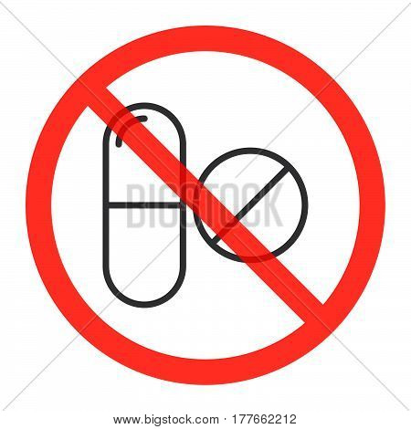 Drugs line icon in prohibition red circle No doping ban or stop sign medicine forbidden symbol. Vector illustration isolated on white poster