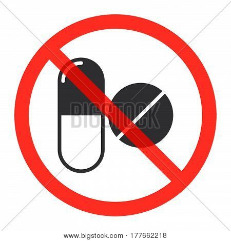 Drugs icon in prohibition red circle No doping ban or stop sign medicine forbidden symbol. Vector illustration isolated on white