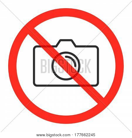 Camera line icon in prohibiting red circle No photos ban or stop sign Forbidden to take pictures symbol. Vector illustration