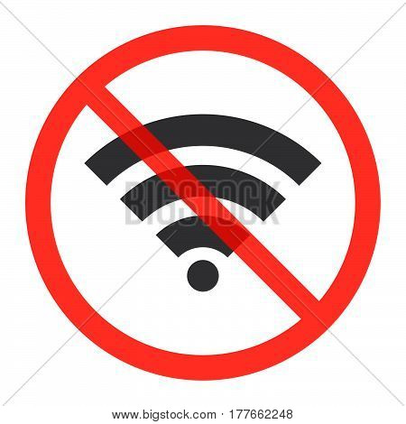 WiFi icon in prohibition red circle No internet signal ban or stop sign forbidden symbol. Vector illustration isolated on white