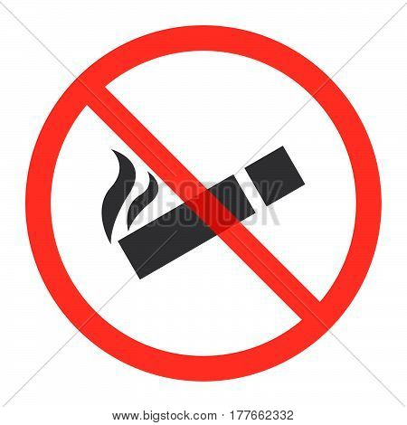 Cigarette icon in prohibition red circle No smoking ban or stop sign forbidden symbol. Vector illustration isolated on white