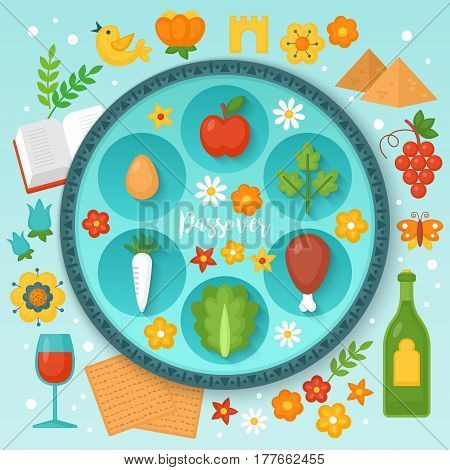 Jewish Holiday Passover Seder Plate And Traditional Symbols For Graphic And Web Design. Vector Illus