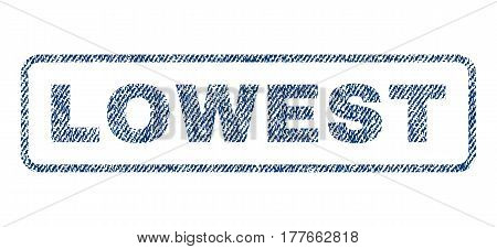 Lowest text textile seal stamp watermark. Blue jeans fabric vectorized texture. Vector tag inside rounded rectangular shape. Rubber sticker with fiber textile structure.