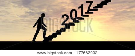 Conceptual 3D male businessman on stair or with 2017 new year eve over sunset sky background banner