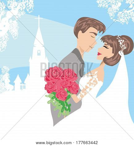 Wedding couple in front of a church , vector illustration