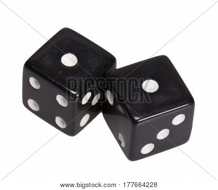 Two dice showing two one, on white background.