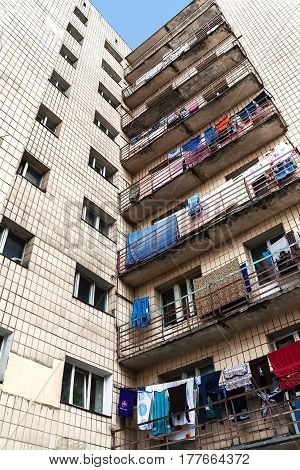 Apartment house hostel in Kiev Ukraine. Colorful photo. drying clothes on the balcony. Multi-storey residential building