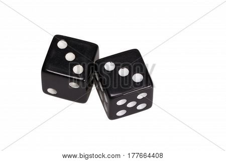 Two dice showing two triples, on white background.