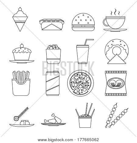 Retro Flat Fast Food line art Icons symbols Set Vector Illustration
