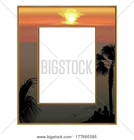 Photoframe: the sea coast at sunset and loving couple under a palm tree