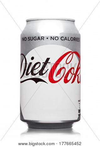 London,uk - March 21, 2017 : A Can Of Coca Cola Diet Drink  On White. The Drink Is Produced And Manu