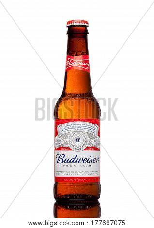 London,uk - March 21, 2017 : Bottle Of Budweiser Beer On White Background, An American Lager First I