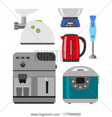 Home appliances cooking kitchen home equipment and flat style household cooking set electronics food template technology icon concept vector. Domestic electricity laundry processor.
