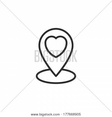 Favorite location marker. Map pin pointer with heart line icon outline vector sign linear pictogram isolated on white. Symbol logo illustration