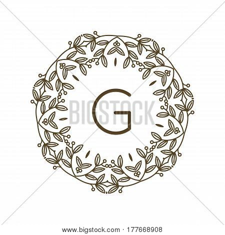 Monogram G logo and text badge emblem line art vector illustration luxury template flourishes calligraphic leaves elegant ornament sign. Flourish outline decoration frame border with letter.