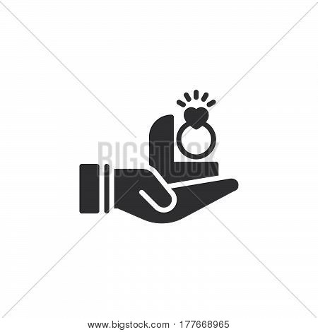 Hand holding engagement ring icon vector filled flat sign solid pictogram isolated on white. Symbol logo illustration
