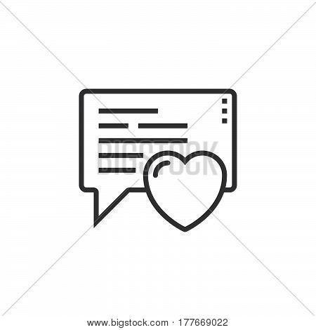 Love message heart in speech bubble line icon outline vector sign linear pictogram isolated on white. Symbol logo illustration