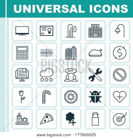 Set Of 25 Universal Editable Icons. Can Be Used For Web, Mobile And App Design. Includes Elements Such As Hotel, Sliced Pizza, Love Flower And More.