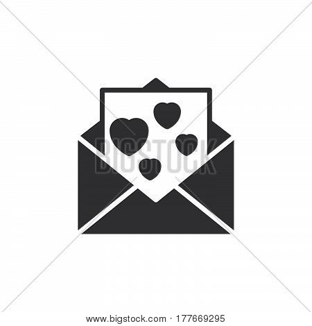 Envelope with love message letter with hearts icon vector filled flat sign solid pictogram isolated on white. Symbol logo illustration