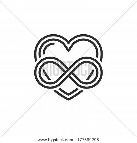 Eternal love line icon outline vector sign linear pictogram isolated on white. Heart with infinity symbol logo illustration