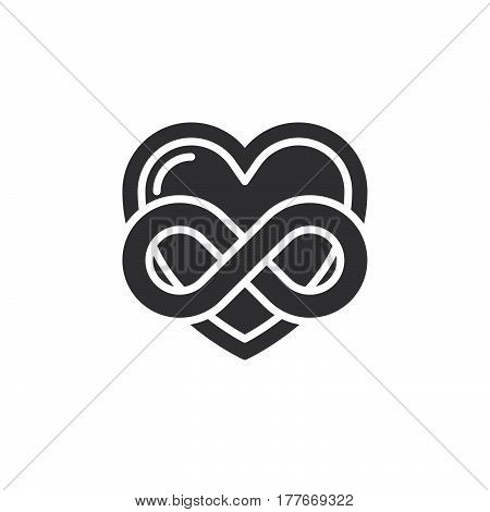 Eternal love icon vector filled flat sign solid pictogram isolated on white. Heart with infinity symbol logo illustration
