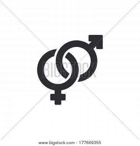 Heterosexual gender symbol icon vector male and female flat sign solid pictogram isolated on white. Logo illustration
