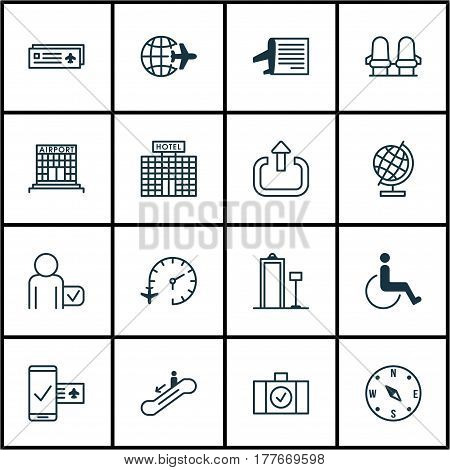 Set Of 16 Transportation Icons. Includes Exit, Resort Development, Accessibility And Other Symbols. Beautiful Design Elements.