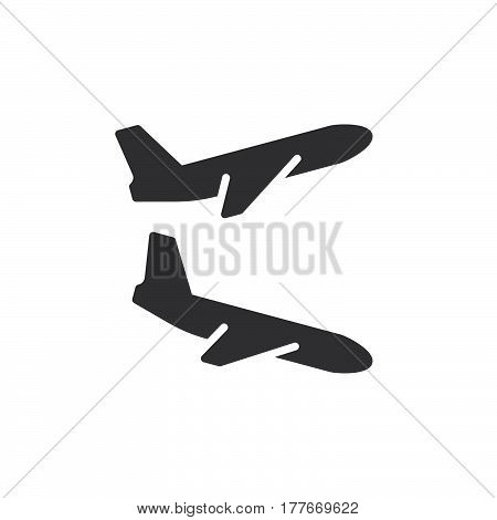Plane landing takeoff icon vector filled flat sign solid pictogram isolated on white. Flight departures arrivals symbol logo illustration