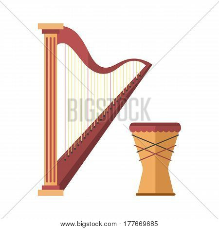 Harp icon golden stringed musical instrument classical orchestra art sound tool and drum acoustic symphony stringed fiddle wooden vector illustration. Vintage performance classic folk artistic sign.