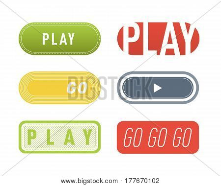 UI interface button play media internet isolated website online concept element sign and online tube player approved mark click icon vector illustration. Accept success vote checkmark.